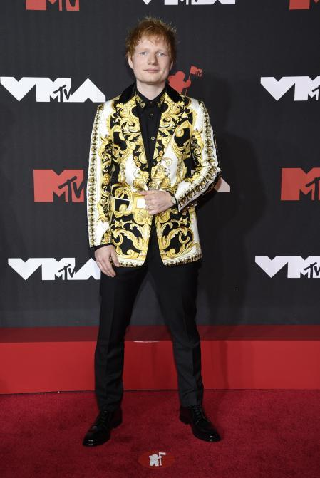 Ed Sheeran on the red carpet at the MTV VMAs.