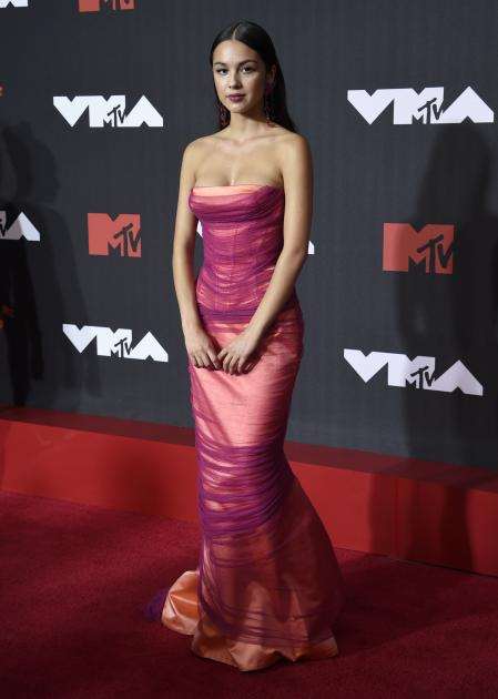 Olivia Rodrigo on the red carpet at the MTV VMAs.