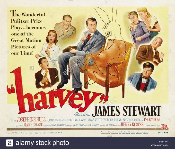 In 1950, the cinema seized on the tale of Mary Chase and offered James Stewart the role of Elwood and an Oscar nomination. Josephine Hull who plays Elwood's sister wins the Oscar for best supporting role. (Copyright 1950 by Universal Pictures Co. Inc. Country of origin: USA)