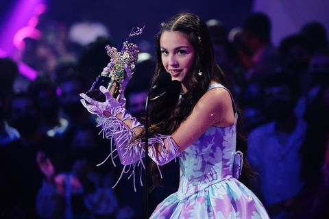 2021 MTV Video Music Awards Olivia Rodrigo Picking Up An Award