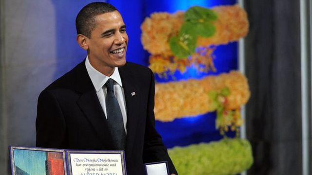 Obama receives the Nobel Peace Prize in 2009.